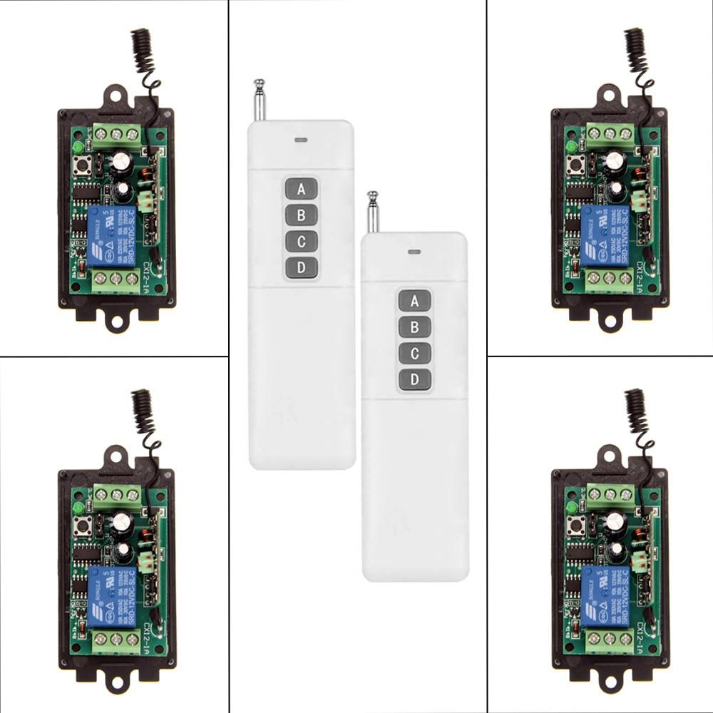 3000m DC 9V 12V 24V 1 CH 1CH RF Wireless Remote Control Switch System,315/433.92 MHZ ,2X Transmitter + 4X Receiver,Momentary<br>