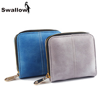 Small Scrub Short Women Wallets And Purses Luxury Brand Famous Thread Zipper Female Purse Clutches Ladies Leather Wallets Grey