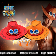 Ace One Piece Hat Anime Cosplay Cap Hats Toy Cartoon Hats Cowboy Hat Doll Red Orange Color to Choose Free shipping(China)