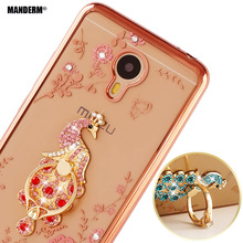 Luxury Rhinestone Phone Case Cover For Meizu M3 note phone case Finger Rotated Ring Holder Stand  Ultra-thin Silicone Cases