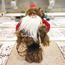 Christmas gift Dearsun brand hot decoration 1pc Santa Claus standing figure excellent quality handicraft W17*H30cm(China)