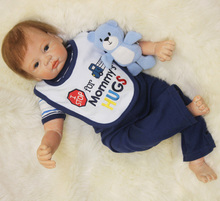 Newest Soft Silicone Huge Size 55cm Boy Cloth Reborn Dolls for Sale Realistic Solid Original New Born Baby Painting Shop
