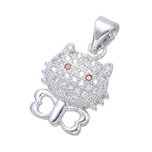 Hot Selling Jewelry Cute Zircon Hello Kitty Charms For Necklace Jewelry Making Copper Micro Pave Cartoon Dangle Charms Bijoux