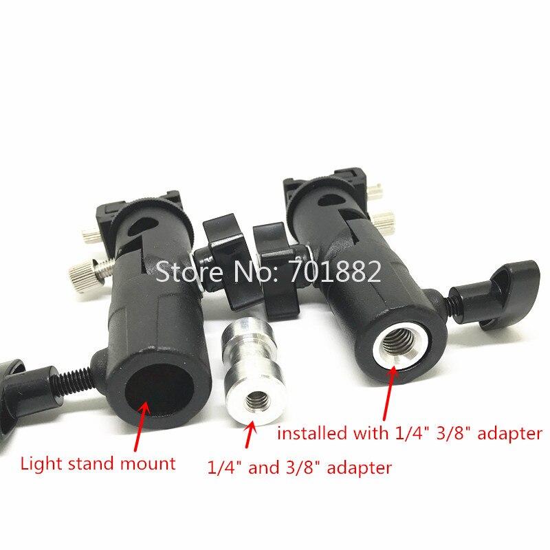 Jadkinsta Metal Flash Speedlite Bracket Hot Shoe to Light Stand Mount with Umbrella Holder Adapter Swivel Head (2)