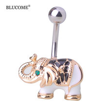 New arrival Gold Body Jewelry Elephant Navel Piercings Belly White Enamel Button Rings Navel Rings Women Girls Bikini Bijoux Bar(China)