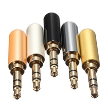 3 Pole 3.5mm Male Headphone Jack Plug Metal Audio Soldering & Back cover 5 Colours