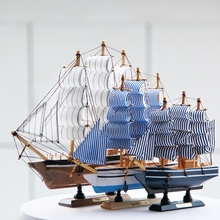 5 color Mediterranean Style Wooden Sailing Ship Handmade Carved Model Boat Home Nautical Decoration wood Crafts(China)