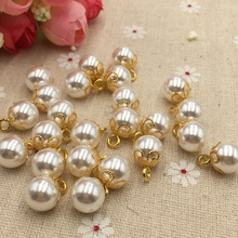 High-grade pearl buttons 10mm gold alloy torus pearl sweater decorative buttons jeans button FC200 Jewelry Accessories(China)