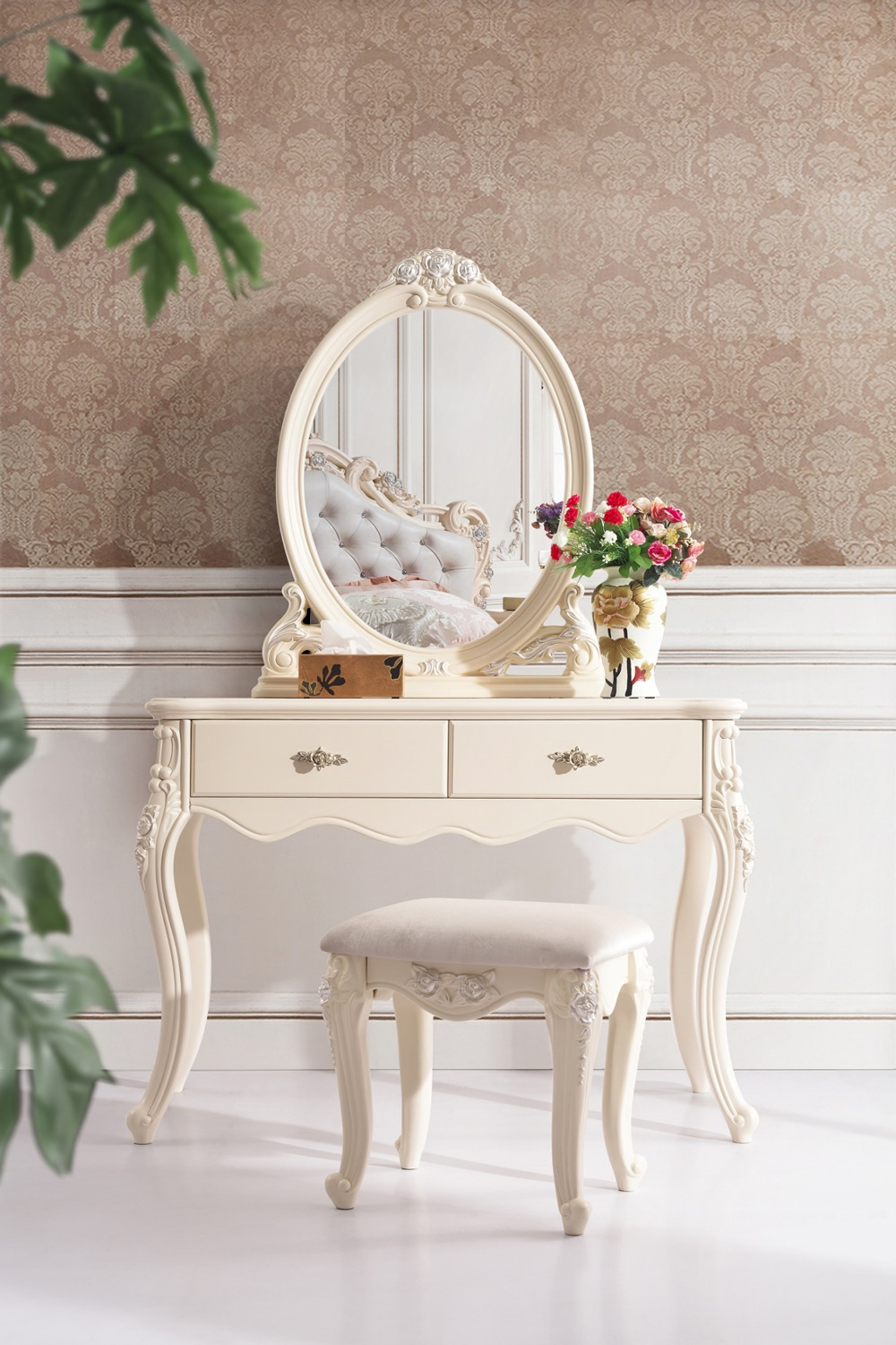 Modern Bedroom Set High Class European Style Dressing Table Dresser With Stool Chair Hand Carved Solid Wood Furniture