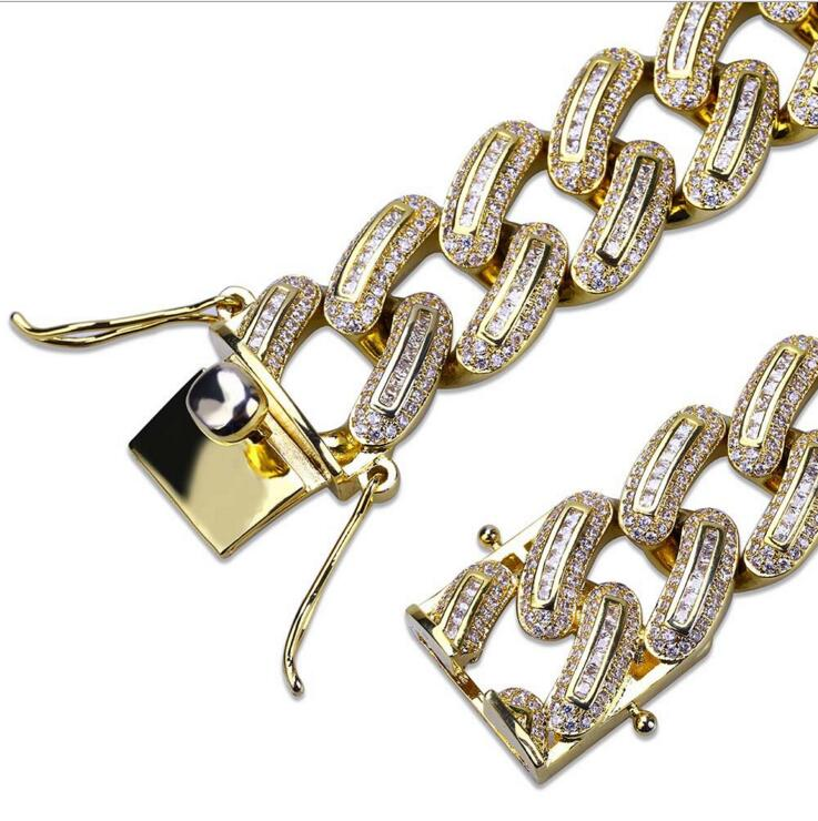 "7"" 8"" silver gold two colors 2018 hip hop bling luxury men boy gift jewelry Miami wide big cuban link chain bracelet with cz"