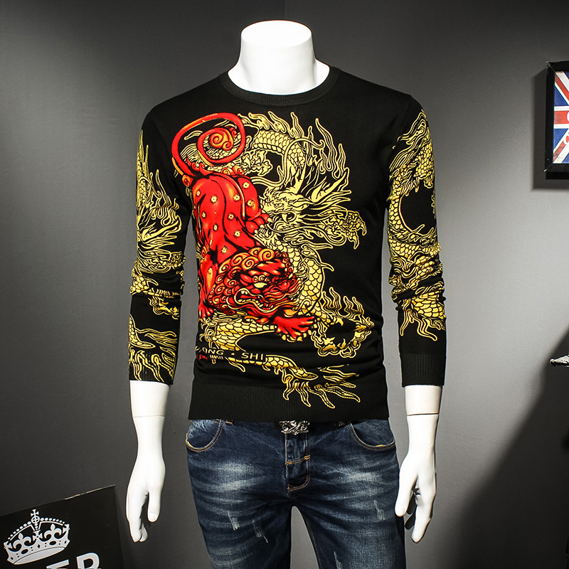 Men's Pullover Knitwear Sweater 2018 Autumn Winter Beautiful National Dragon Printing Men jumper Sweaters Full Sleeve Shirt 9957