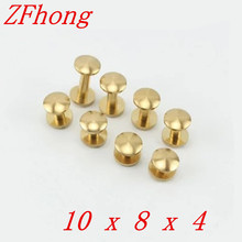 Round head `20 Pieces 10*8mm Leather Craft Belt Wallet Solid Brass Nail Rivet Chicago Screw Cambered Head(China)