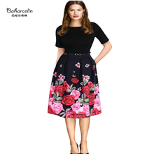 Baharcelin New Spring Autumn Dress Women Girl Floral Printed Rose Pleated Dresses Casual Knee Length Dress for office party(China)