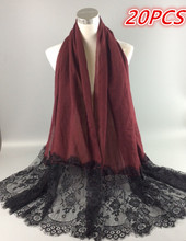 M9 20pcs Special black lace shawl wrap scarf scarves viscose lace hijab mixed colors(China)