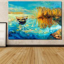 ship river Aquatic plants grass Bank Landscape Europe Frameless Canvas Spray Oil Painting Home decor drawing Artist picture