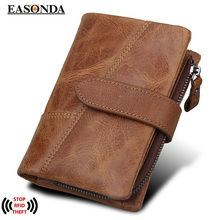 Buy RFID Blocking Real Genuine Leather Mens Wallets Crazy Horse Cowhide Leather Male Purse Coin Bags Male Credit&Id Car Wallet for $18.77 in AliExpress store