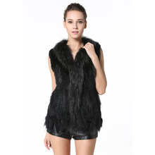 High Cost-effective Womens Real Knitted Rabbit Fur Vests with Raccoon Fur Collar Gilets Close-woven Waistcoat Plus Size LX00003
