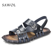 Buy Sawol Men Sandals Men Beach Sandals Brand Men Sneakers Casual Shoes Men Slippers Flip Flops Genuine Split Leather Summer Shoes for $18.24 in AliExpress store