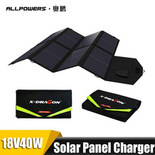 ALLPOWERS Portable Solar Panel Charger 5V/18V 40W Dual Ports Solar cell for Phone Tablet Laptops solar Car Battery freeshipping