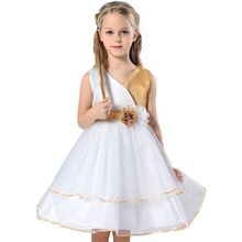 Children Clothing & Kids Clothes 2 Flower Girls Dress For Wedding Events Bow Baby Girls Elegance Birthday Dresses Ceremonies