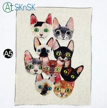 1pcs/lot Fashion dyeing cloth sew on bag painting home decoration for wall 16*20cm cute cats printed fabric linen cloth for DIY