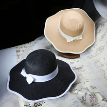 2016 New Hot Sale Falbala Sun Hats For Women Summer Fashion bowknot Straw Hat Flower Caps free shopping