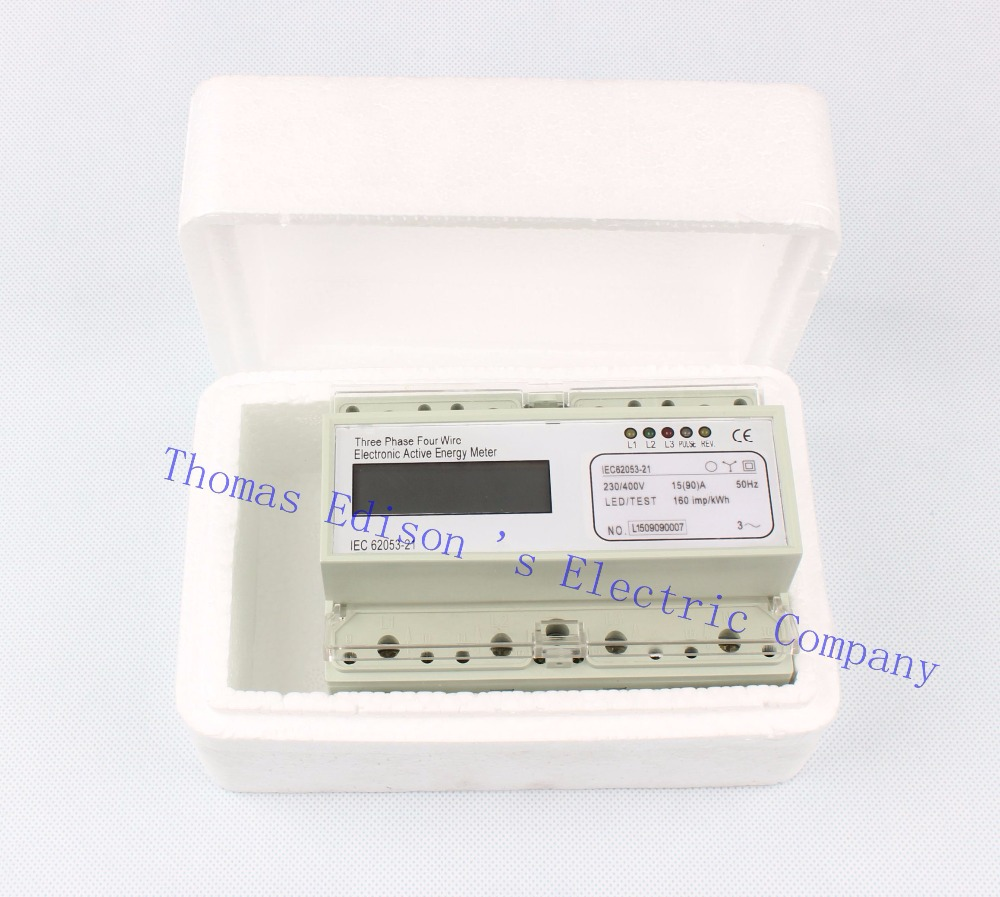 Din rail Three phase KWH energy meter digital 15 to 90 ampere 15(90) Watt LCD 380V power meter  watt meter energy electric meter<br>