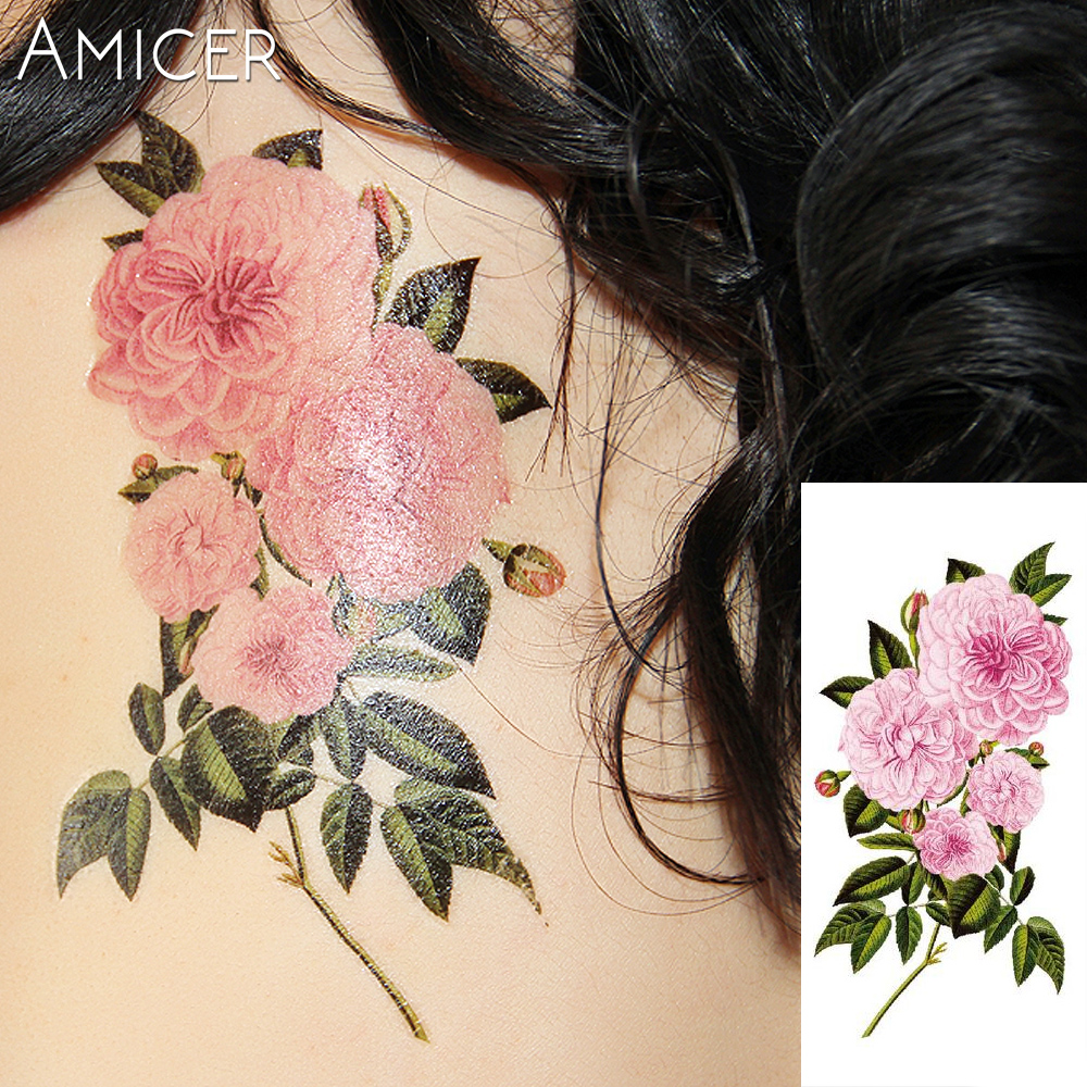 3D lifelike Cherry blossoms rose big flowers Waterproof Temporary tattoos women flash tattoo arm shoulder tattoo stickers 19