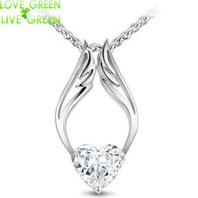 2017 drop ship float Hotselling 18kGP Czech Import Shine Zircon Heart Angel Wings Pendant chain Necklace Fashion jewelry 4064