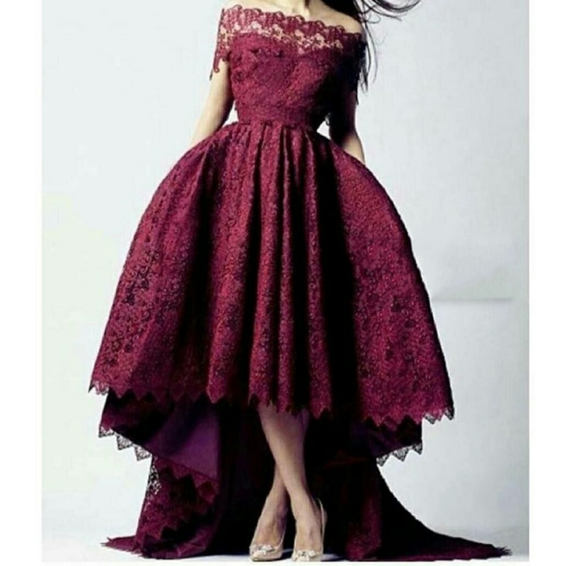 Burgundy Sexy Lace Cocktail Dresses Beautiful Off Shoulder Prom Coctail Dress for Party High Low Chic Jurk Vestidos de coctel