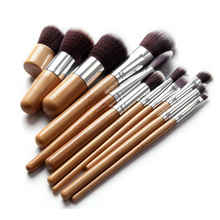 11pcs New Bamboo Brushes Kit Eye Shadow Foundation Brushes Synthetic Hair Brush Cosmetic Beauty Make Up Brush Set Maquiagem