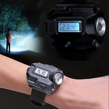 Portable Tactical CREE XPE Q5 LED 1000 Lumens Rechargeable Camping Hiking Wrist Watch Flashlight Torch+USB cable