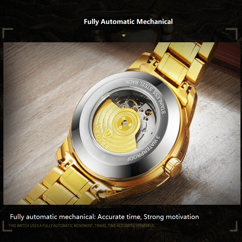 02018 New TEVISE Zodiac Signs Men Watch Automatic Mechanical Wristwatches Limited Edition Watch Men Gold Male Clock saat erkekler (9)