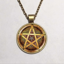 Wholesale Glass Dome hot sale gold Pentagram weaving patterns pendant necklace handmade jewelry