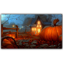 Halloween Poster Pumpkins, Black Cat, Witch's Broom Modern Cartoon Art Picture For Home Decoration Silk Poster and Prints QT061