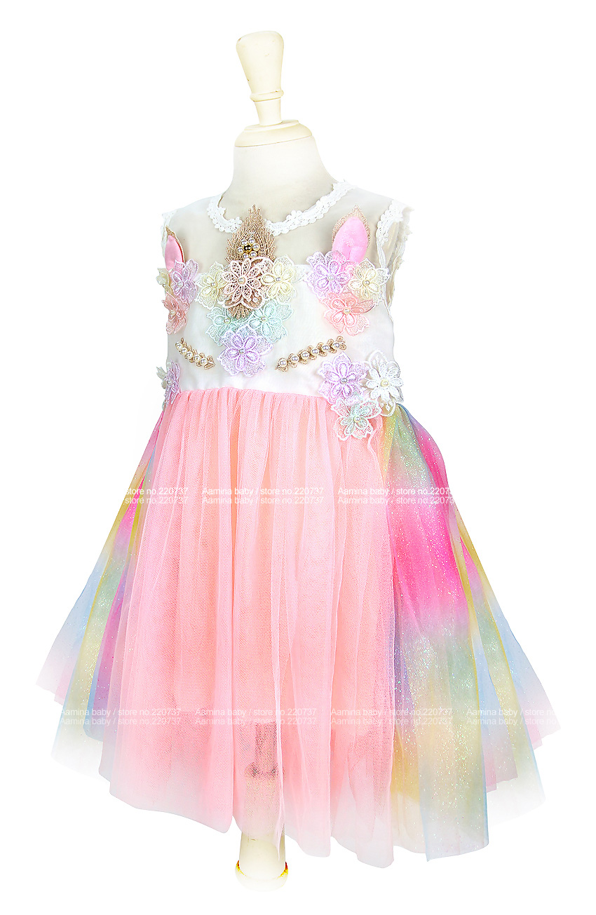 269529fea Compre Unicorn Girls Dress Rainbow Embroidery Toddler Una Línea ...