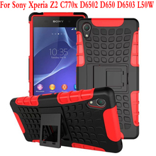 Cell Phone Case Heavy Duty Armor Kickstand Hybrid Hard Composite TPU ShockProof Back Cover For Sony Xperia Z2 D6502 D6503 L50W
