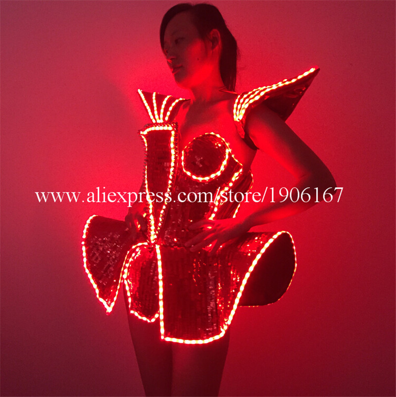 LED Lady Sexy Clothing Luminous Flashing Women Dress Costumes Suits Party Dance Accessories Event Party Supplies8