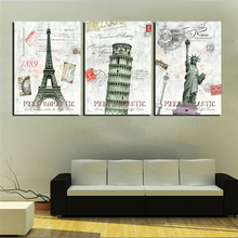 3 Piece Home Decor Wall Art Canvas Painting Europe Classic Building City Landscape Stamps Designs Art Pictures Printed No Frame