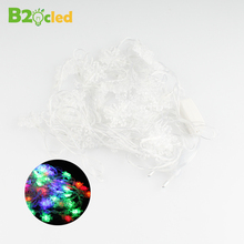 2017 With EU Connector plug Snowflake shaped strip lamp Flexible light Christmas lights Waterproof 220V 7.5M 50 wick colourful(China)
