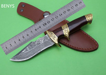 BENYS Damascus Knife High Grade Gold Wood Handle Damascus Steel Fixed Collection knife Outdoor Tools Damascus Hunting Knife(China)