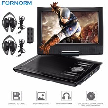 "FORNORM 9"" Mini DVD Player 2800mAh Portable DVD Player CD with Dual Headphones Remote Control Carry Case Car Charger Max 32G UK(China)"