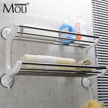 Plastic stainless steel towel holder suction cup towel rack with hooks wall suction towel shelf bathroom accessories