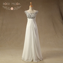 Rose Moda Cap Sleeves Crystal Beaded Floor Length Homecoming Dresses Slim White Ivory Wedding Party Guest Dress(China)