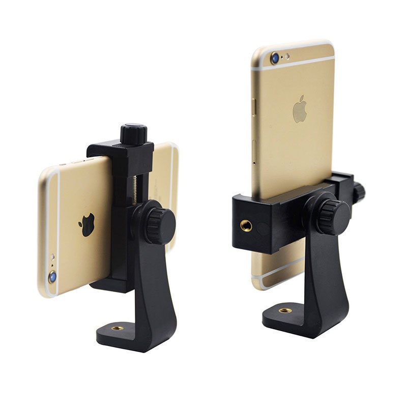 Universal Tripod Mount Adapter Cell Phone Clipper Holder Vertical 360 Rotation Tripod Stand for iPhone X 7 plus Samsung