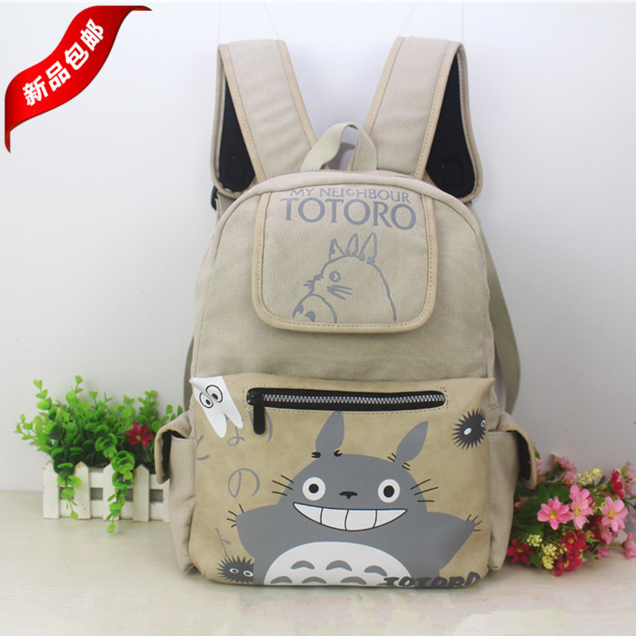 Tonari no Totoro Cartoon printing College schoolbags Shoulders backpack canvas bags Totoro Casual fashion man woman backpack<br>