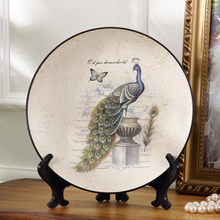 Antique Ceramics Peacock Crafts Home for Wall Hanging European Living Room Wine Cabinet Creative Decorative Craft Plate Dishes(China)