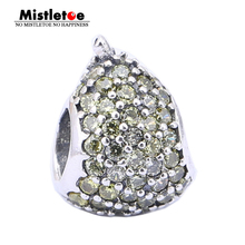 Authentic 925 Sterling Silver Fruit Pear Light Yellow Or Green CZ Charm Bead Fit Brand Bracelet Jewelry