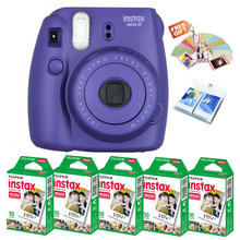 Fujifilm Instax Mini 8 Film Camera Grape Purple Color + 50 Prints Fuji Instant Mini White Photos + Free Wall Album / Stickers