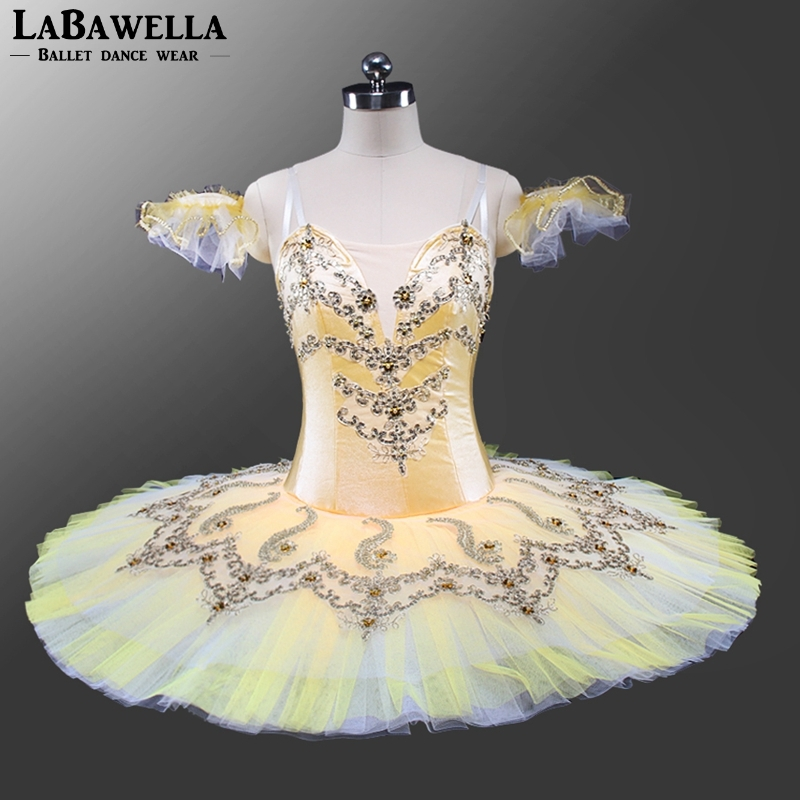 performance stage competition ballerina costumes women BT9140 adult yellow classical professional ballet tutu pancake